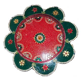 Puja Thali: Red & Green Thali