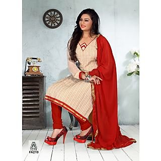 The New Designer Attractive  Cream And Red Salwar suit