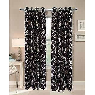 Homefab Polyester Multicolor Floral Eyelet Door Curtain(Set Of 2)