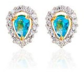 Sheetal Jewellery Gold Plated Turquoise Cz Earrings