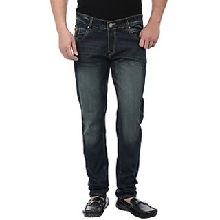 Adhaans Blue & Green Regular Fit Jeans
