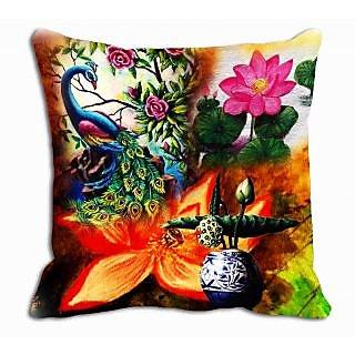 meSleep Peacock Floral Cushion Cover  (20x20)
