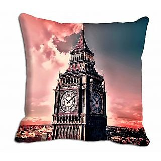 meSleep Pink Clock Tower Cushion Cover  (20x20)