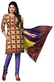 Dfolks Red And Beige Cotton Printed Salwar Suit Dress Material (Unstitched)