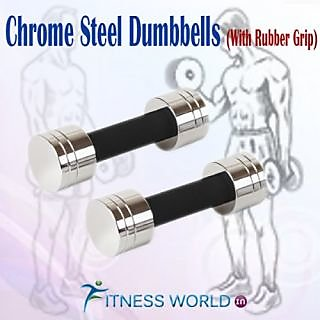 CHROME STEEL DUMBELLS SETS 7.5 KG X 1 PAIR (with Rubber Grip)