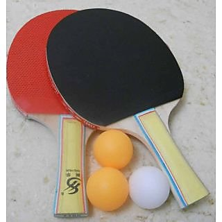 2 PCS Table Tennis Bats + 3 Pcs TT Balls Complete Family Set