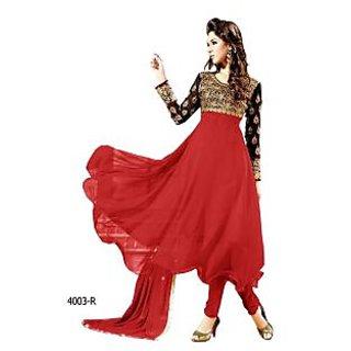 Ladies Anarkali Semi-Stitched Suit Set Red