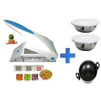 Kitchen Dhamaka - Stylish Fruit And Vegetable Cutter With 2 Different Blades + 2 Pcs. Food Grade Stainless Steel Bowls With Lids + Free Kadai