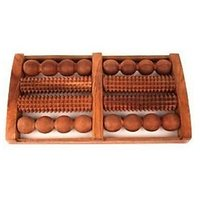 Khan Handicrafts Wooden Foot Massager With Round And Spiked Rollers