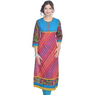 Shop Rajasthan MultiColor Striped Cotton Straight Kurti