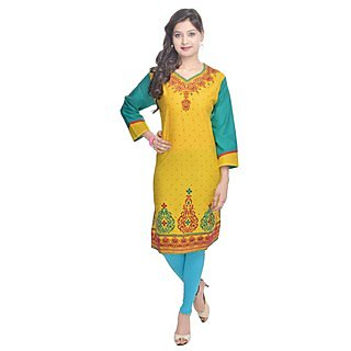 Shop Rajasthan MultiColor Dotted Cotton Straight Kurti