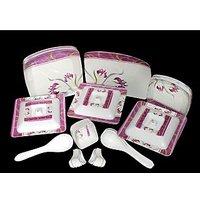 Geeta Diamond Sqaure 44 Pcs Melamine Dinner Set LE-GDS-006, Multicolor