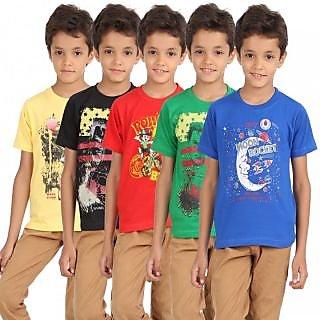 Lyril Multi Color Boys Cotton Round neck T-shirt