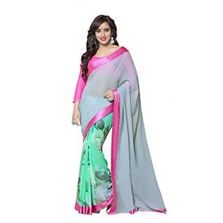 Bhavi Embellsihed Green Faux Georgette Sari with Border (BHVS903)