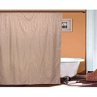 Just Linen Tan ColoredWater Resistant Striped Polyester Full Length Shower Curtains