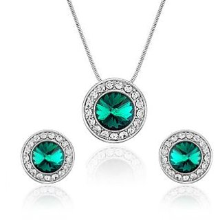 Oviya Rhodium Plated Concentric Green Pendant Set For Women NL4101022R