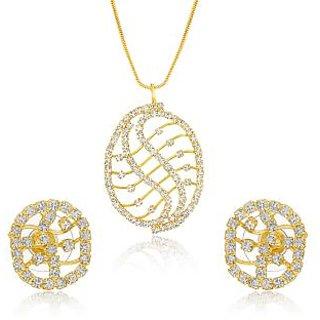 Oviya Gold Plated Golden Mesh Pendant Set with Earrings For Women NL4101023G