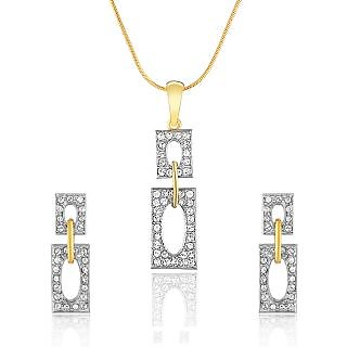 Oviya Gold Plated Silver  Golden Gold Foil Pendant With Chain  Earrings For Women