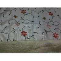 Double Bed Cover Set Of Fine Silk With Pillow & Cushion Cover