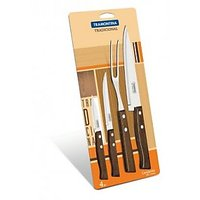 4pc Kitchen Carving Set - Dark Wood Handles - Imported From Brazil
