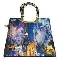Rk Blue Hollywood Print Handbag
