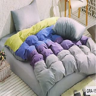 Valtellina Cotton Ultra-violet Double Bedsheet With 2 Pillow Cover (GRA-15)