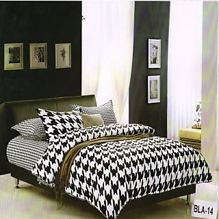 Valtellina Polycotton  Ikat  Double Bedsheet  with 2 Pillow cover (BLA-14)