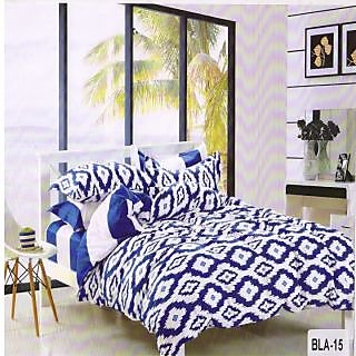 Valtellina Polycotton  Graphic  Double Bedsheet  with 2 Pillow cover (BLA-15)