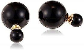 Ashiana Emma Watson Inspired Double Sided Pearl Stud Earrings Black