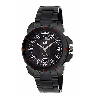 Hala Black Metal Round Analog Watch For Men