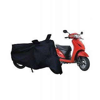Bike Body Cover (Black) With Mirror Pocket for Honda Activa