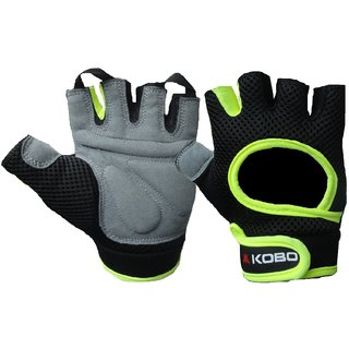 KOBO Fitness Gloves / Weight Lifting / Gym Glove (Imported) (Green, Size  Small)