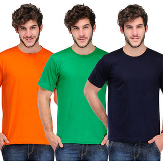 TSX Men's Multicolor Round Neck T-Shirt (Pack of 3)
