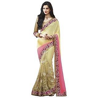 Triveni Yellow Net Plain Saree With Blouse
