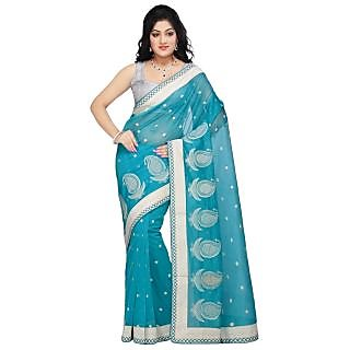 Triveni Blue Supernet Embroidered Saree With Blouse