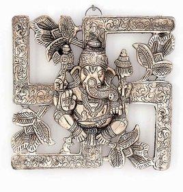 Antique White Metal Swastik Ganesha Hanging 313