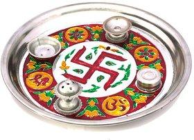 Meenakari Shubh Laabh Designer Swastik Pooja Thali 415