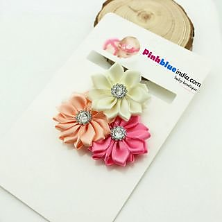 Pink  Blue India Sweet Flower Baby Headband in Cream, Peach and Pink Color