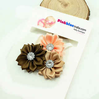 Pink  Blue India Cute Floral Baby Headband in Beige, Brown and Orange