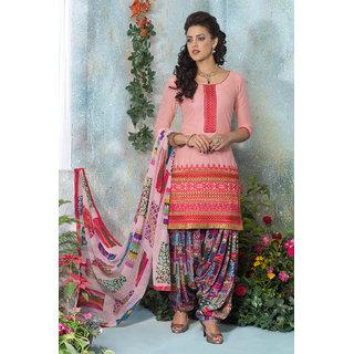 Light Pink Glace Cotton Embroidered Salwar Kameez with Chiffon Dupatta