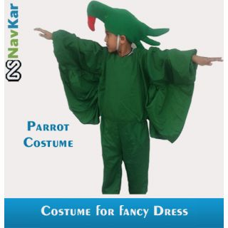Green Colored Parrot Fancy Dress Costume For Kids Medium Size 7 - 9 Years