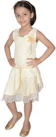 Kids dresses baby clothing girls Designer net frock beige 3 - 7 Years