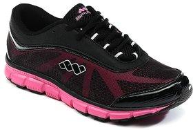 Spunk Women's Black & Pink Sports Shoes