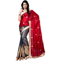 Four Seasons Maroon Embroidery Saree With Blouse FS5031