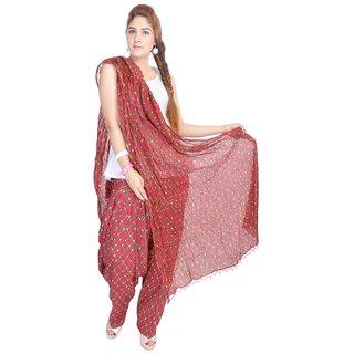 Shop Rajasthan Cotton Striped Printed Red Patiala Salwar With Dupatta