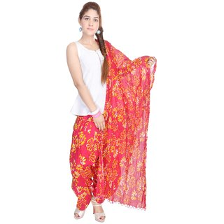Shop Rajasthan Cotton Floral Print Pink Yellow Patiala Salwar With Dupatta