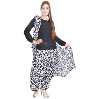 Shop Rajasthan Cotton Self Design Printed Black White Patiala Salwar With Dupatta