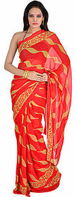 Aaradhya Fashion Multicolor Brasso Printed Saree With Blouse