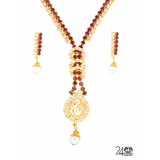 Red Stones Studded Gold Plated Necklace By 24Karats