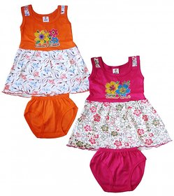 Shreeji Garments Multicolour Cotton Blend Sleevless Frock (Pack of 2)